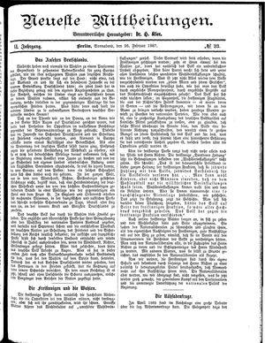 Neueste Mittheilungen vom 26.02.1887