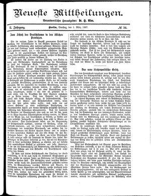 Neueste Mittheilungen vom 01.03.1887