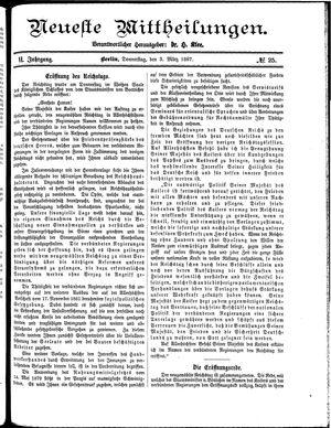 Neueste Mittheilungen vom 03.03.1887