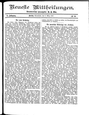 Neueste Mittheilungen vom 05.03.1887