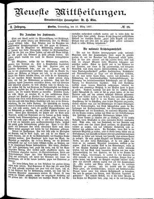 Neueste Mittheilungen vom 10.03.1887