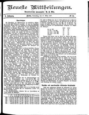 Neueste Mittheilungen vom 17.03.1887