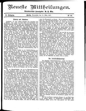 Neueste Mittheilungen vom 19.03.1887