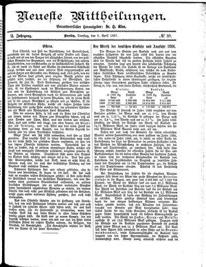 Neueste Mittheilungen vom 05.04.1887