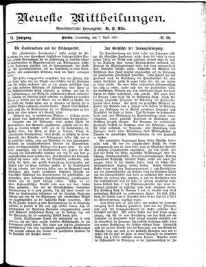 Neueste Mittheilungen vom 07.04.1887