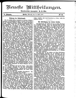 Neueste Mittheilungen vom 13.04.1887