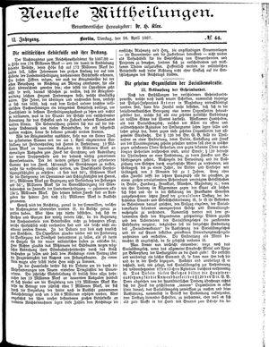 Neueste Mittheilungen vom 26.04.1887
