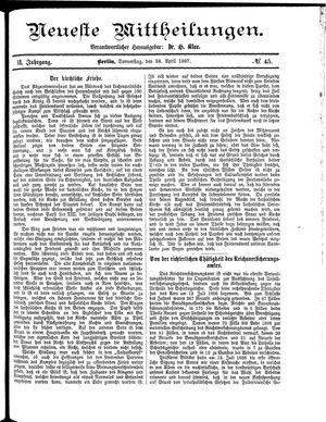 Neueste Mittheilungen vom 28.04.1887