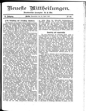 Neueste Mittheilungen vom 30.04.1887