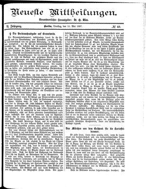 Neueste Mittheilungen vom 10.05.1887