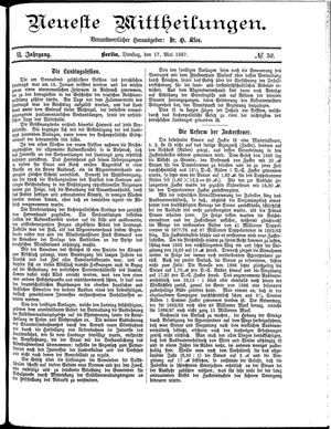 Neueste Mittheilungen vom 17.05.1887