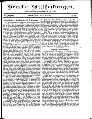 Neueste Mittheilungen vom 20.05.1887