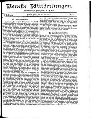 Neueste Mittheilungen vom 27.05.1887