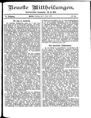 Neueste Mittheilungen vom 01.06.1887