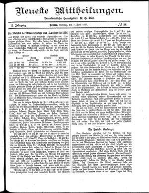 Neueste Mittheilungen vom 07.06.1887