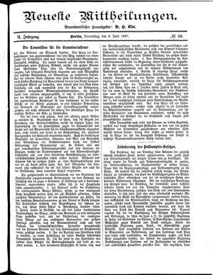 Neueste Mittheilungen vom 09.06.1887