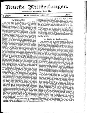 Neueste Mittheilungen vom 18.06.1887