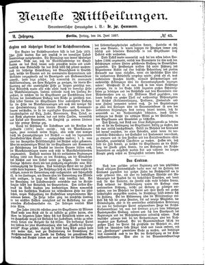 Neueste Mittheilungen vom 24.06.1887