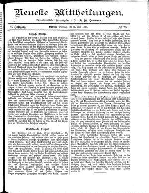 Neueste Mittheilungen vom 12.07.1887