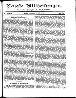 Neueste Mittheilungen vom 15.07.1887
