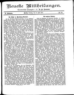 Neueste Mittheilungen vom 19.07.1887