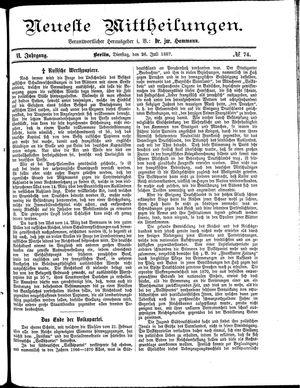 Neueste Mittheilungen vom 26.07.1887