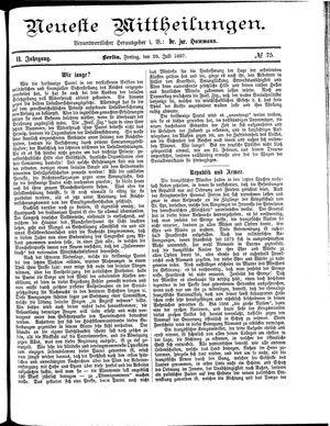 Neueste Mittheilungen vom 29.07.1887