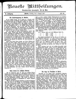Neueste Mittheilungen vom 02.08.1887