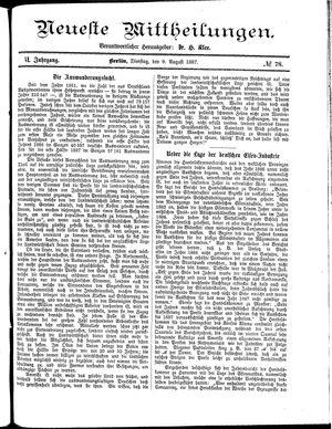Neueste Mittheilungen vom 09.08.1887