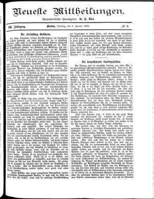 Neueste Mittheilungen vom 08.01.1889