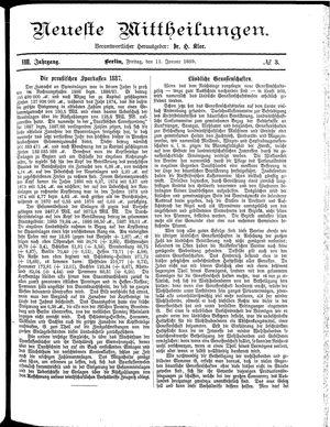 Neueste Mittheilungen vom 11.01.1889