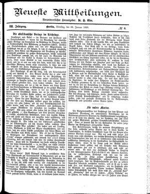 Neueste Mittheilungen vom 29.01.1889