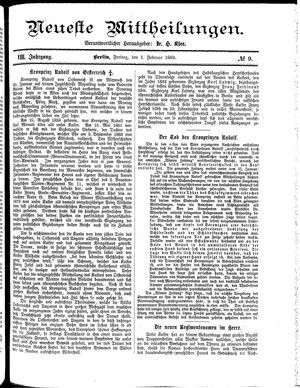 Neueste Mittheilungen vom 01.02.1889