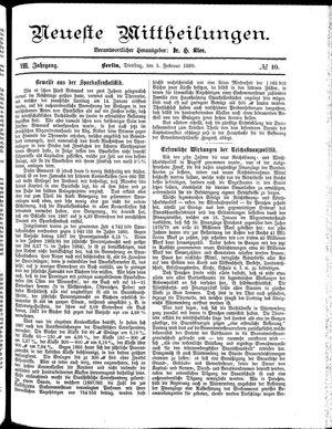 Neueste Mittheilungen vom 05.02.1889