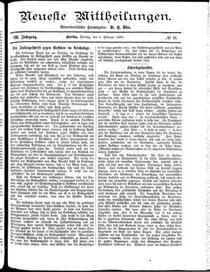 Neueste Mittheilungen vom 08.02.1889