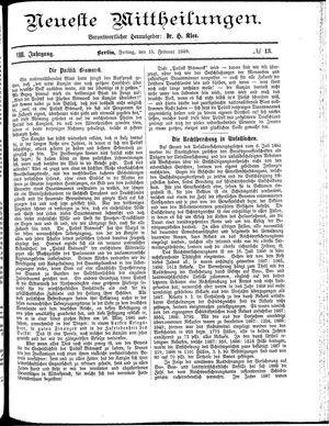Neueste Mittheilungen on Feb 15, 1889