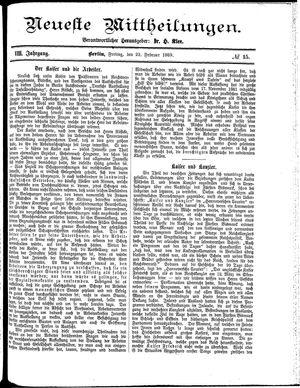 Neueste Mittheilungen vom 22.02.1889