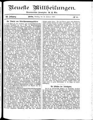 Neueste Mittheilungen vom 26.02.1889