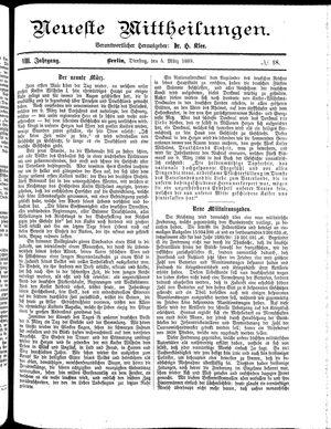 Neueste Mittheilungen vom 05.03.1889