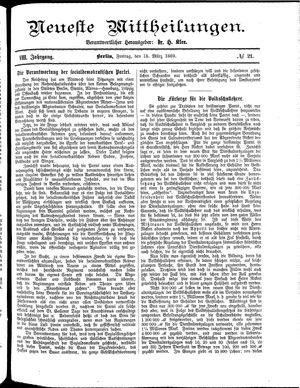 Neueste Mittheilungen vom 15.03.1889