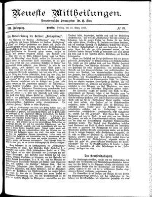 Neueste Mittheilungen vom 22.03.1889