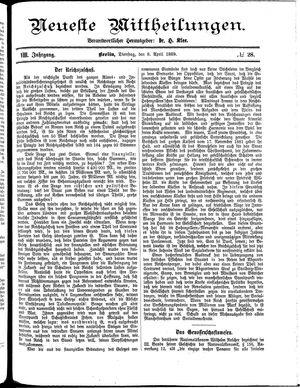 Neueste Mittheilungen vom 09.04.1889