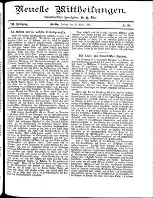 Neueste Mittheilungen vom 12.04.1889