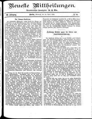 Neueste Mittheilungen vom 24.04.1889