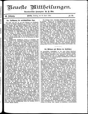 Neueste Mittheilungen vom 30.04.1889