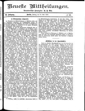 Neueste Mittheilungen on May 31, 1889