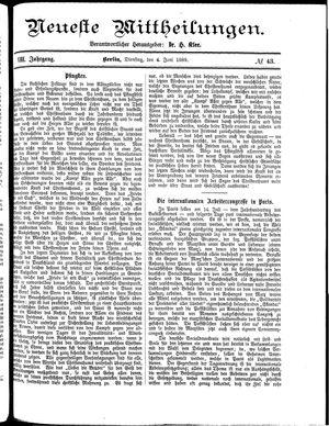 Neueste Mittheilungen vom 04.06.1889