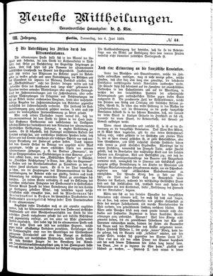 Neueste Mittheilungen vom 06.06.1889