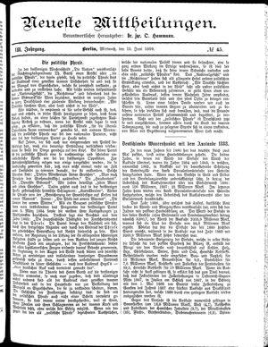 Neueste Mittheilungen vom 12.06.1889