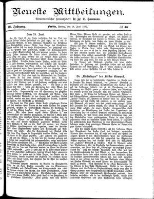 Neueste Mittheilungen vom 14.06.1889